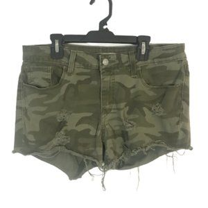 Levi's Upcycled Camo Shorts Distressed Olive Green